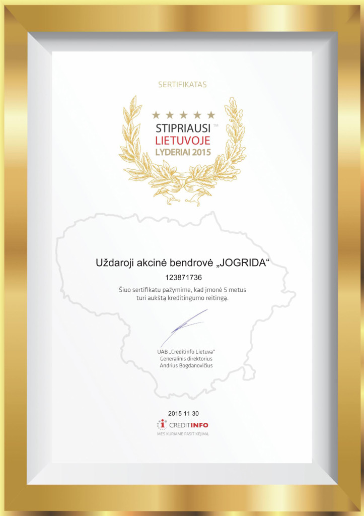 Stipriausi Lietuvoje 2016 - UAB Jogrida