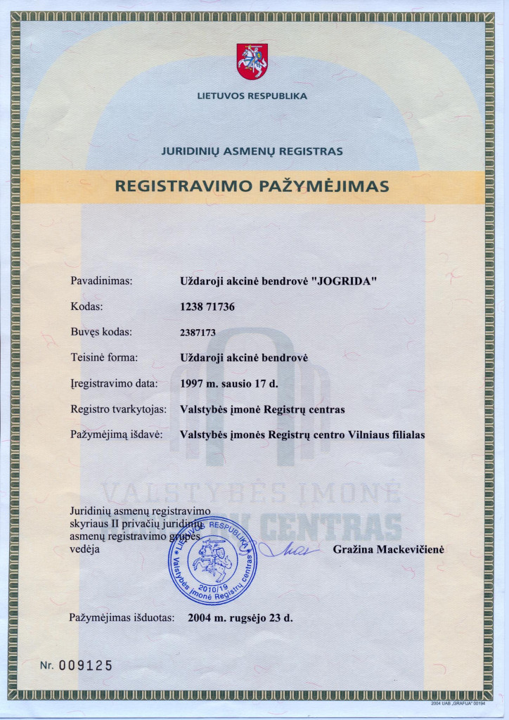 UAB Jogrida registravimo pažymėjimas